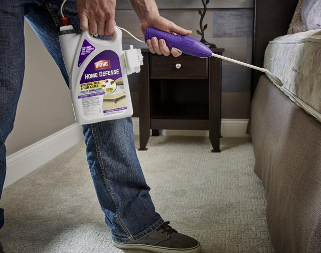 User spraying Ortho Home Defense Bed Bug, Flea & Tick Killer along the edge of their bed