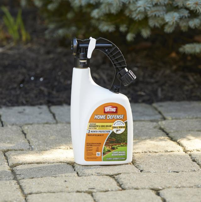 Ortho® Home Defense® Backyard Mosquito and Bug Killer Ready-To-Spray sitting on sidewalk